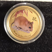 2008 Australia Lunar Year Of The Mouse 1/10 Ounce Gold Coin Colorized Sku1+