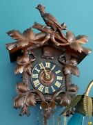 Lg. Old Antique German Black Forest Full Bird Crest Cuckoo Clock Early 1900and039s