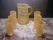 Vintage Color Craft Spaghetti String Pitcher W/six Highball Glassesyellow/gold