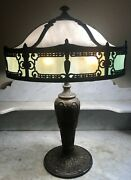 Antique Arts And Crafts French Revival Table Lamp Curved Bent Slag Glass Shade
