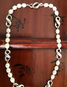 """And Co. Freshwater Pearls And Infinity Figure 8 Sterling 925 Necklace 16"""""""