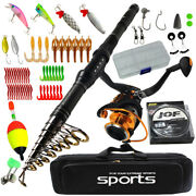 Telescopic Rod Combo 1.8-3m Carbon Travel Rod With Spinning Reel Fishing Set