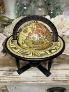 Vintage Wooden Old World Globe With Zodiac Celestial astrology Signs Boho Mcm