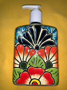 Ceramic Soap And Lotion Dispenser - Talavera - Hand Painted Mexican Pottery 3