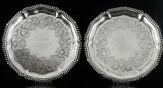 Pair Antique Sterling Silver Salvers London 1833 Joseph And John Angell
