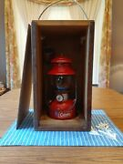 Antique/vtg 1955 Coleman Lantern Red Model 200a With Wood Carrying Box