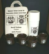Vtg Aladdin Teamsters Union Thermos With Four Cups And Carry Bag 1970's