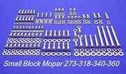 Mopar Engine Bolts Kit Small Block 273 318 340 360 Polished Stainless Steel Set