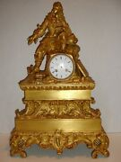 Antique French Mantel Clock- Incredible Detail Of French Noble Man. Works.