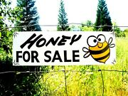 Vintage Old Painted Primitive Metal Bee Honey For Sale Barn Stable Farm Sign