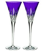 Waterford Lismore Pops Purple Champagne Toasting Flute Pair 40019532 New