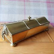Brass Standish, Two Glass Inkwells Nib Box And Pen, Vintage Antique 1a