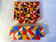 75 Vintage Wooden Pattern Design Blocks Primary Colors Wood Geometric Cubes Toy