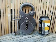Antique Xl Padlock And One Key Working Order Handmade By Blacksmithand039s Over 2.5 Kg