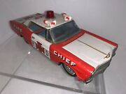 Vintage Bandai Tin Friction Toy Ford Fire Chief Car Vg