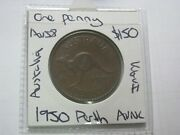 Australia Penny 1950 Perth Mint Nice Kgvi Coin About Unc