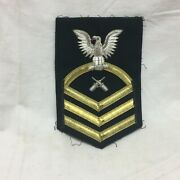 Vintage Military Patch Navy Cpo Chief Petty Officer Bullion Variant Gunners Mate