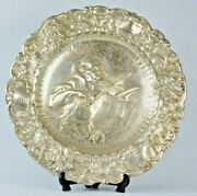 49cm Rare Italy Silver Repousse Decorative Plate Ornaments And Character Violinist