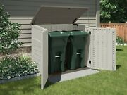 Durable Outdoor Storage Shed 45.5 Tall Garden Yard / Tools Garbage Cans Cream
