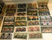 Lot Antique Stereoscope Viewer 28 Cards Childrent Animals More