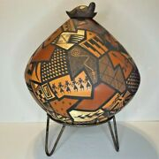 Native American, Hand Coiled, Painted, Etched,clay Crock Pot-bernadette Poleahla