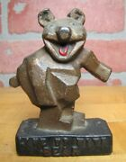 Line Up With Bear Alignment Art Deco Cast Iron Advertising Paperweight Sign