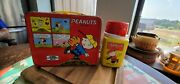 Vintage 1965 Red Peanuts Charlie Brown Snoopy Lucy Lunch Box W/ Thermos