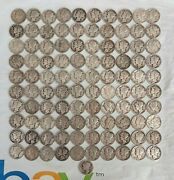 Lot Of 101 10.10 Face Value 90 Silver 101 Mercury Dimes Circulated 1916-1945