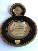 Vintage Beautifull Two Collectable Plates Chokin Japan Porcelain 24k Gold Plated