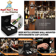 Beer Lovers Party Bottle Opener Wall Mounted Powerful Magnetic Cap Catcher New