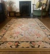 Vintage 1920s / 30s American Hand-hooked Bordered Floral Wool Rug 5ft 4andrdquo X 3ft 7