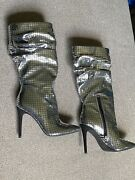New Jessica Simpson Silver Slouchy Metallic Boots Size 7 159
