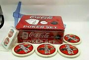 Coca Cola Poker Set With Coasters And Spare Deck Unopened Red Cards Chips Coast