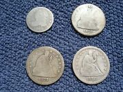 Sba + 4 Silver Coins 1823 Capped Bust Dime 1856 1875 1877s Seated Quarters