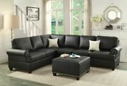 Casual Black Bonded Leather 2p Sectional Sofa Set Reversible Loveseat Sofa Couch