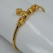 24k Solid Yellow Gold Butterfly Crown Charm Bangle 20 Grams 999