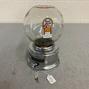 Vintage Ford Penny Glass Silver Gum Ball Machine 1 One Cent W/ Keys And Badge