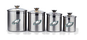 Philadelphia Eagles 4-piece Stainless Steel Canister Set Airtight Glass Lids