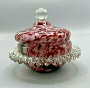 Nineteenth Century Cased Glass Lidded Candy Dish End Of The Day And Rigaree Trim