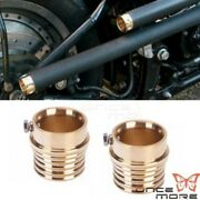 Pair Motorcycle Solid Brass Exhaust Tips For Harley Chopper Custom W/ 2 Pipes