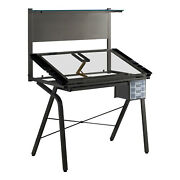 Monarch Specialties Drafting Table - Adjustable / Grey Metal / Tempered Glass