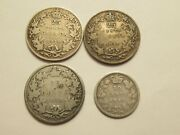Lot Of 4 Canada Silver Coins 1874 1918 1919 25 Cent + 1880 10 Cent