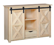 New Amish Unfinished Solid Pine | Server | Rolling Barn Door | Modern Farmhouse