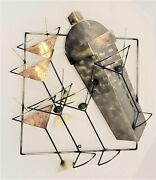 Curtis Jere Martini Shaker And Glasses 3-d Mixed Metal Wall Sculpture Circa 1999