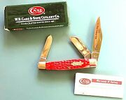2008 Case Knife 6375 Ss Stockman Tar Heel Cutlery Club 18 Of 50 Red Stag 3 Bld