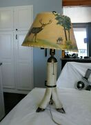 Vintage Antique Hunting Cabin Lodge Deer Foot Leg Lamp And Shade And Ashtray