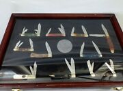 Americaand039s Trades Handy Man Club Of America Knife Collection W/ Display Case