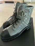 Bnib 21a Grey Black Quilted Cc Chain Logo Combat Lace Up Brave Boots 38.5