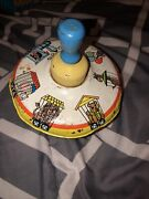 Vintage Ohio Art Tin Spinning Top Childs Toy Circus Train 1940s 50s