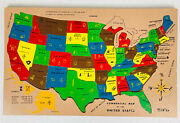 Sifo Vintage Commercial United States Wooden Jigsaw Puzzle Map Usa Complete All